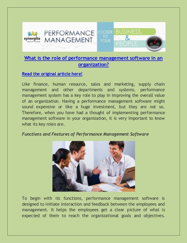 What is the role of performance management software in an organization? Read the original article here! Like finance, huma...
