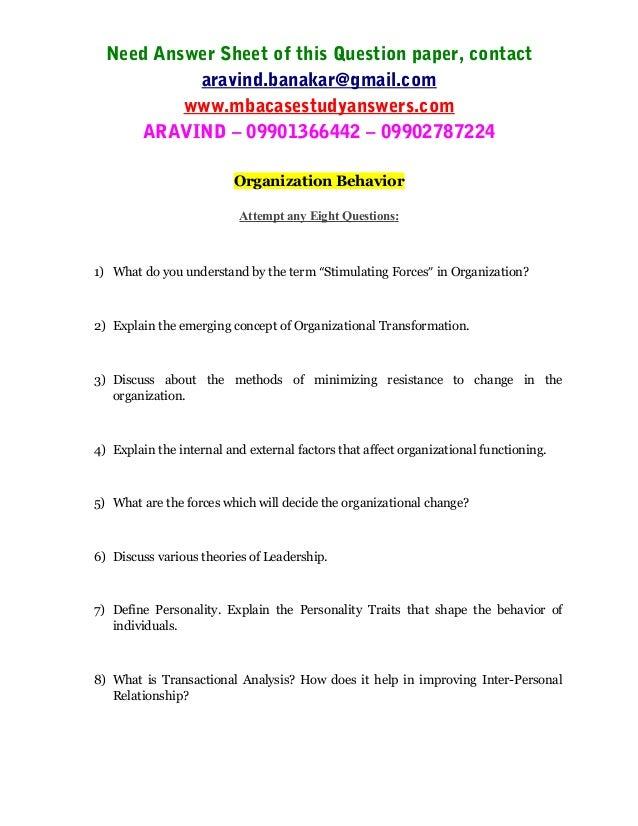 Organizational behavior paper service