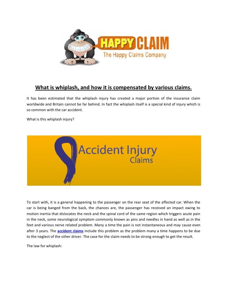 the description of whiplash and how it occurs Whiplash whiplash injury description whiplash is an injury to the neck which frequently occurs in car accidents, especially rear-end accidents like a concussion, it often occurs when the victim experiences a sharp back-and-forth jerking motion in the neck (hence the name whiplash.