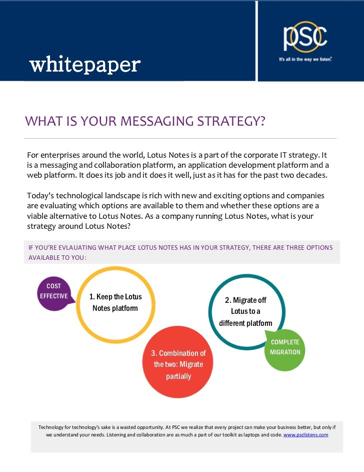 whitepaperwhitepaperWHAT IS YOUR MESSAGING STRATEGY?For enterprises around the world, Lotus Notes is a part of the corpora...