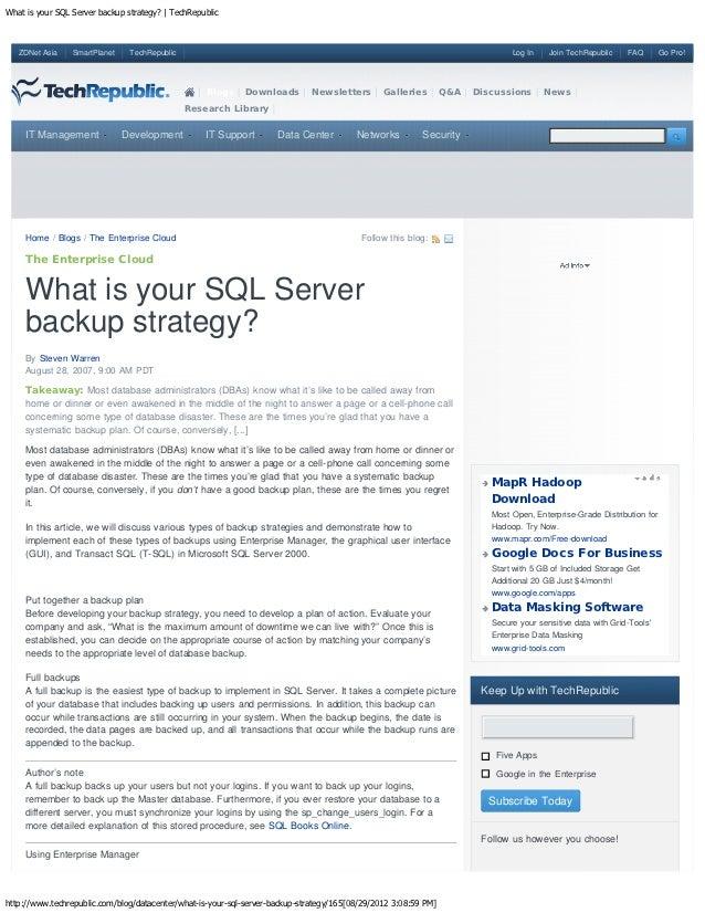 What is your SQL Server backup strategy? | TechRepublic   ZDNet Asia    SmartPlanet    TechRepublic                       ...