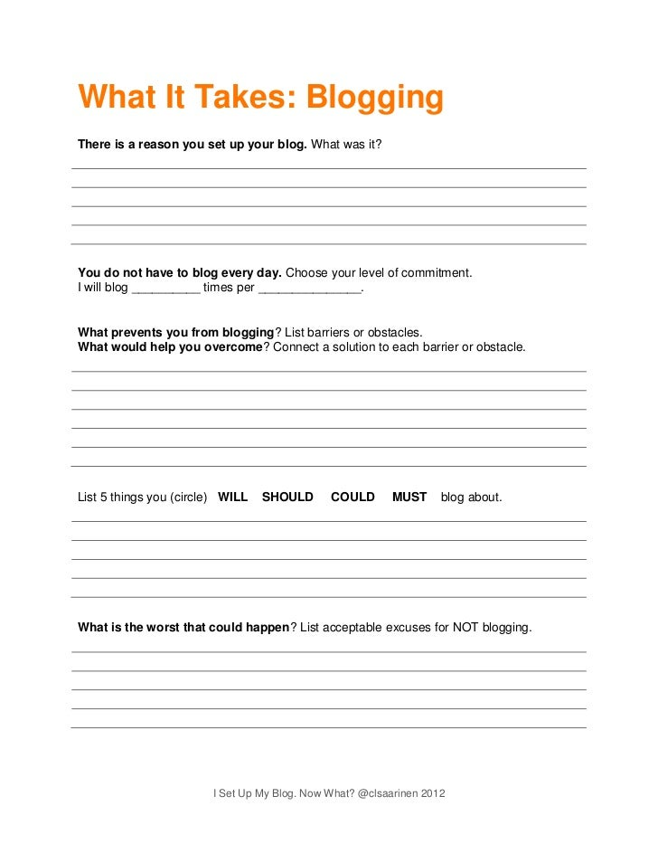 I set up my blog. Now what? worksheet