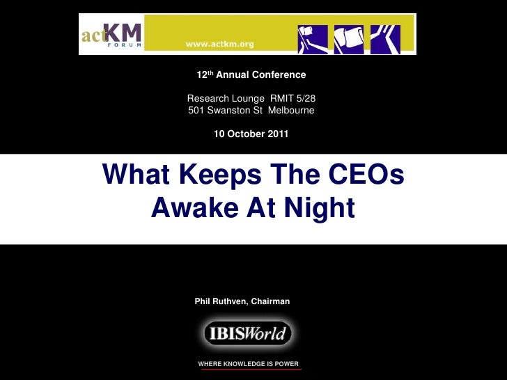 12th Annual Conference<br />Research Lounge  RMIT 5/28<br />501 Swanston St  Melbourne<br />10 October 2011<br />What Keep...