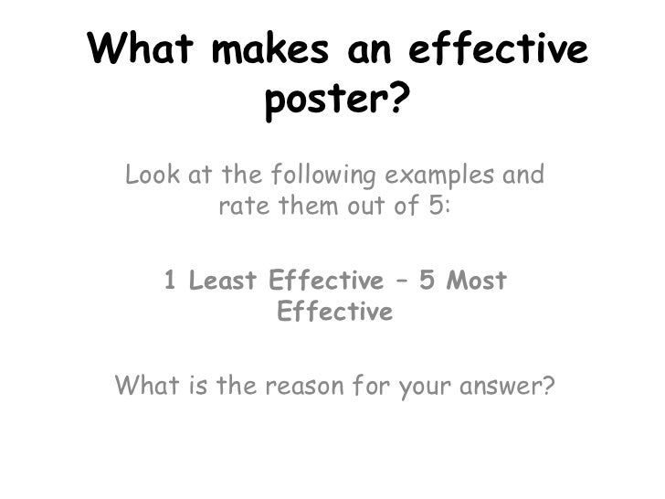 What makes an effective poster