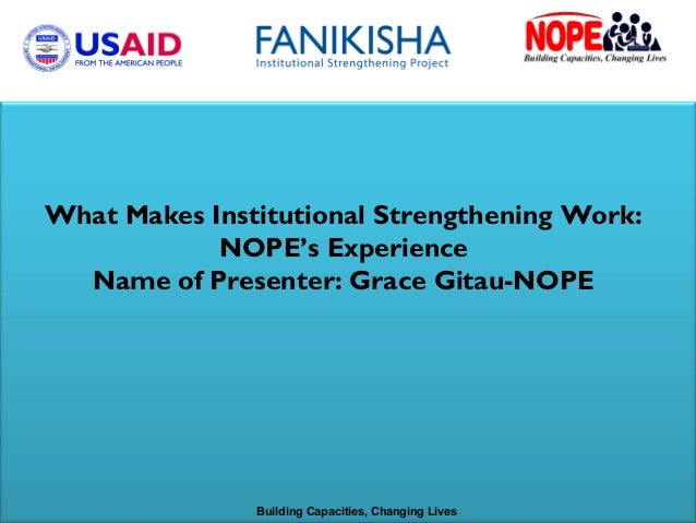 What Makes Institutional Strengthening Work: NOPE's Experience