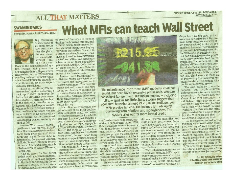 What Micro Finance Institutions (MFI's) Can Teach Wall Street
