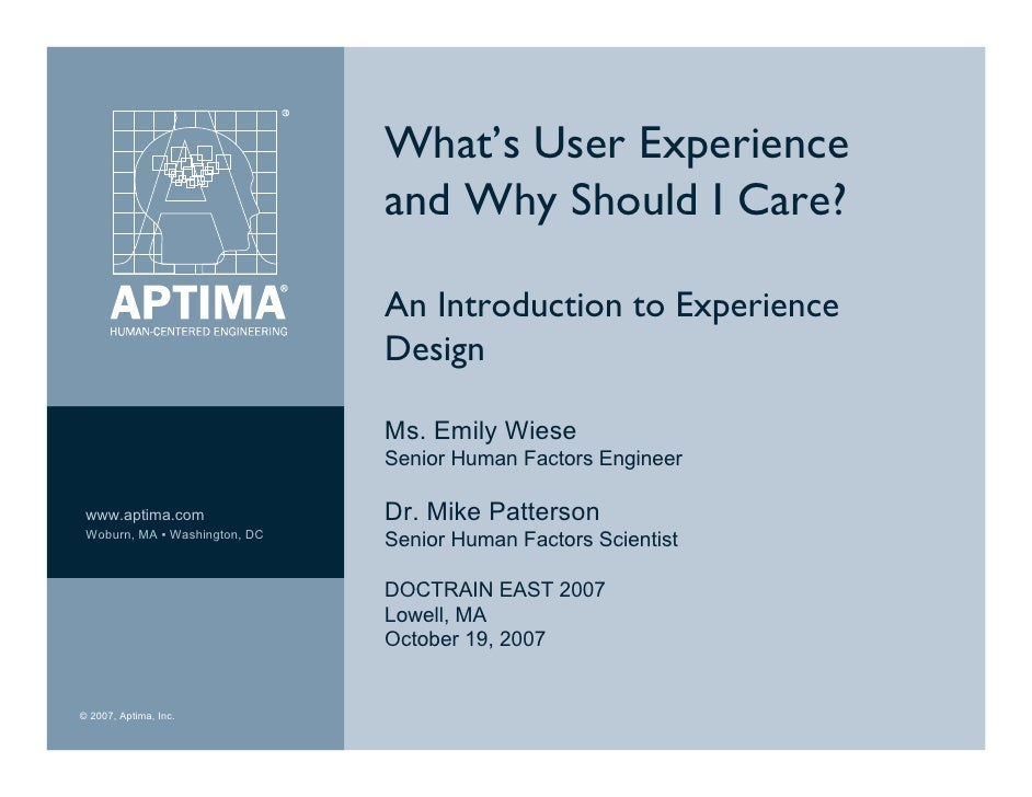 What's User Experience                                and Why Should I Care?                                 An Introducti...