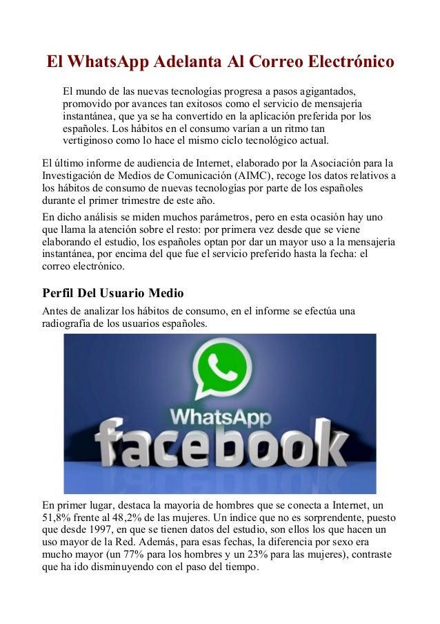 El WhatsApp Adelanta Al Correo Electrónico