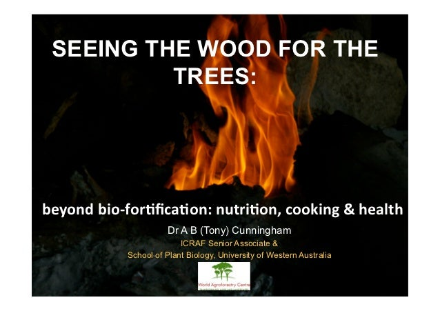 SEEING THE WOOD FOR THE TREES:beyond  bio-forfication: nutrion, cooking & health