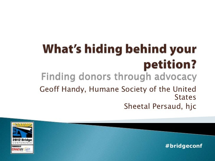 What's hiding behind your petition? Finding donors through advocacy