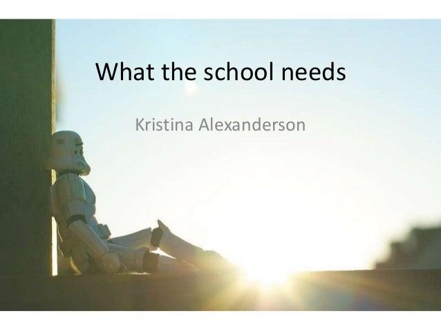 What the school needs   Kristina Alexanderson