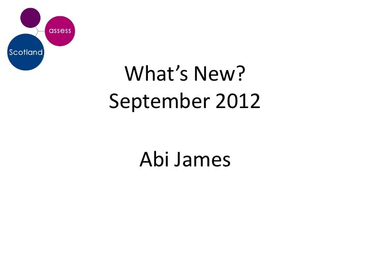 What's New?September 2012  Abi James