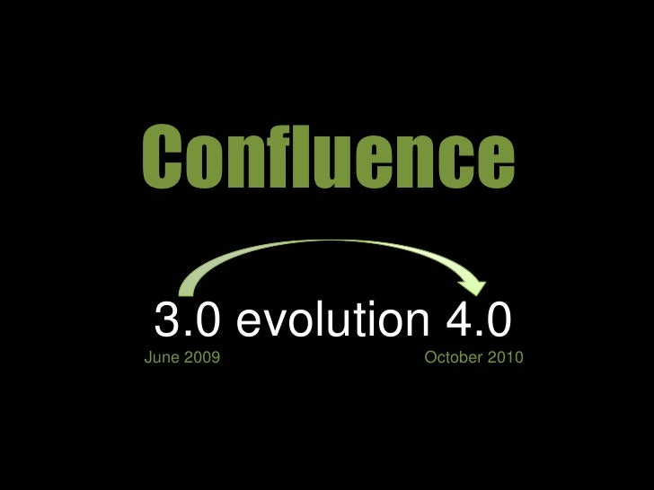 Confluence<br />3.0 evolution 4.0June 2009                                             October 2010<br />