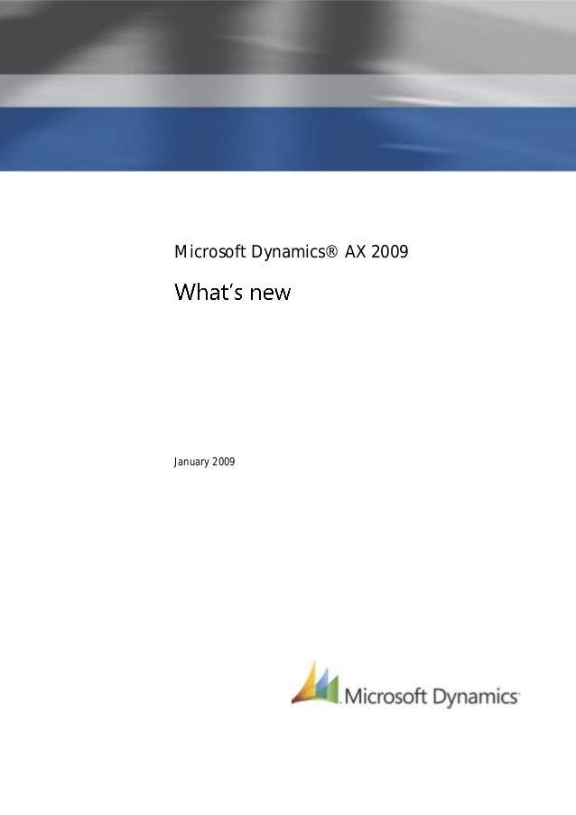 Microsoft Dynamics® AX 2009January 2009