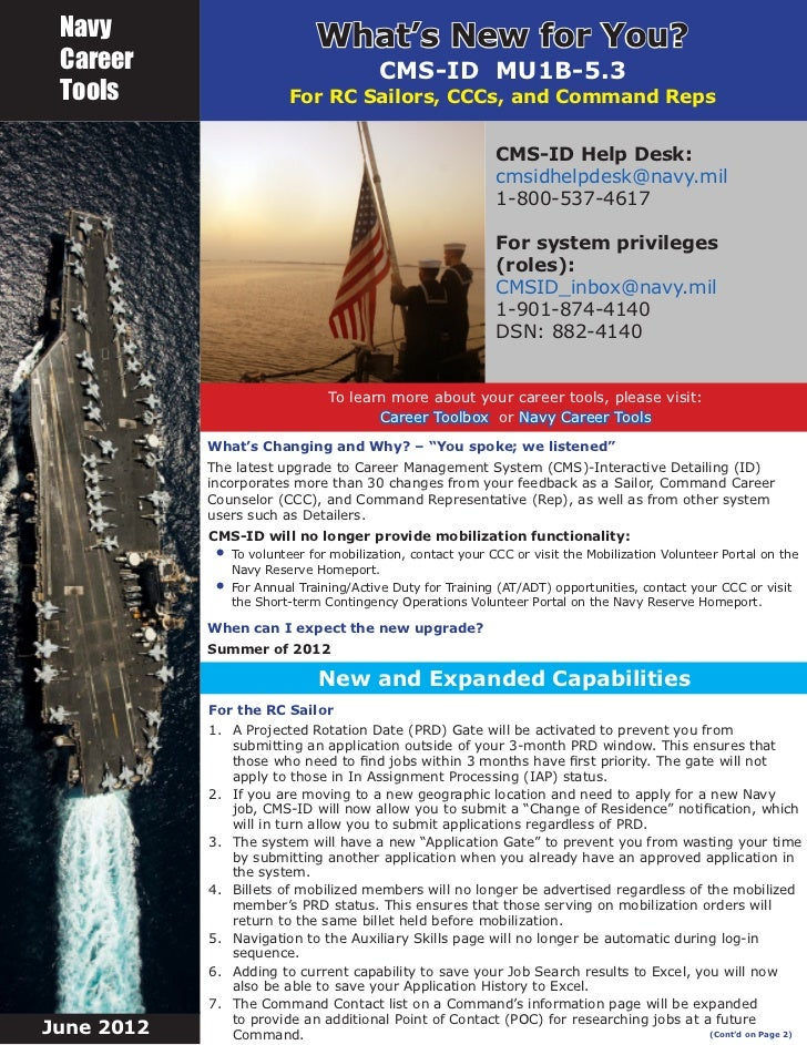 Navy                         What's New for You? Career                                 CMS-ID MU1B-5.3 Tools             ...