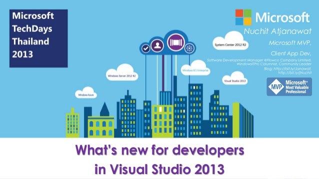Nuchit Atjanawat Microsoft MVP, Client App Dev,  What's new for developers in Visual Studio 2013