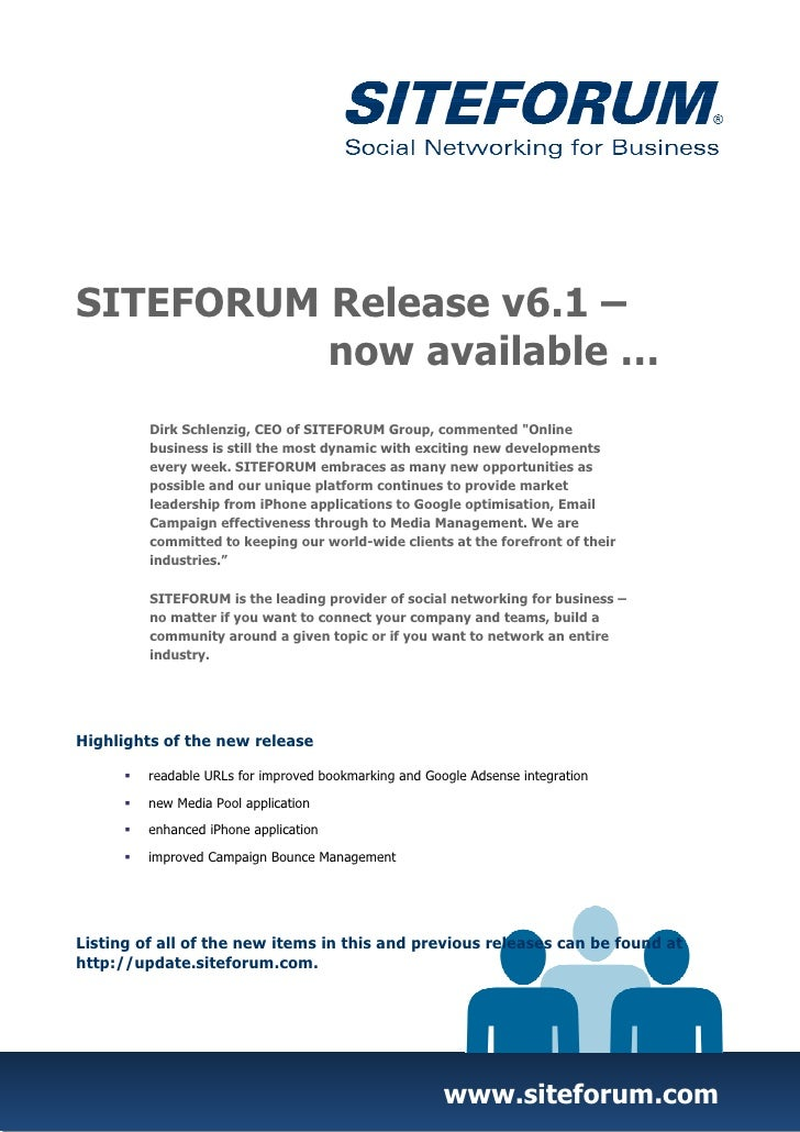"""SITEFORUM Release v6.1 –          now available …         Dirk Schlenzig, CEO of SITEFORUM Group, commented """"Online       ..."""