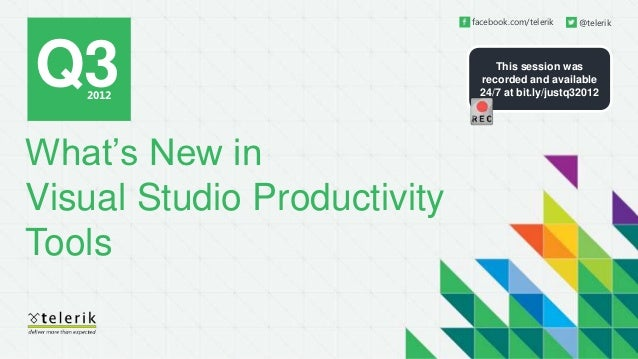 What's New in Visual Studio Productivity Tools Q3 2012