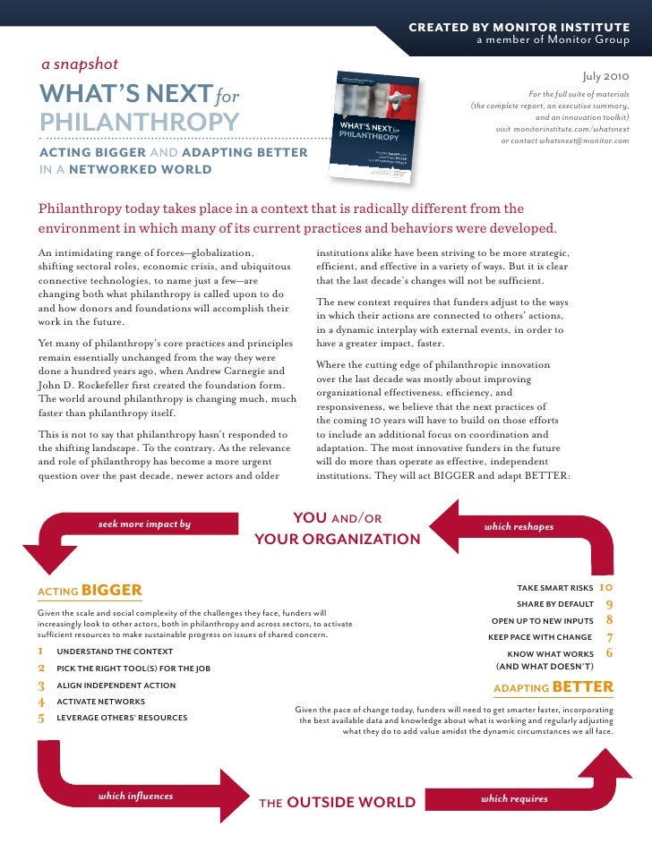 Monitor Institute - What's Next for Philanthropy: Snapshot