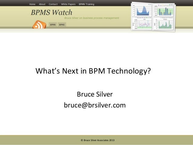 © Bruce Silver Associates 2013What's Next in BPM Technology?Bruce Silverbruce@brsilver.com