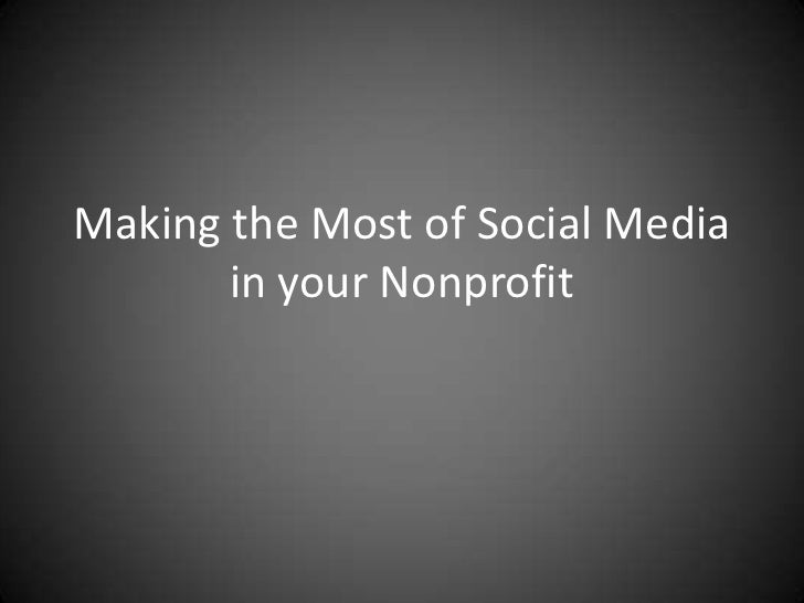 What social media is for nonprofits