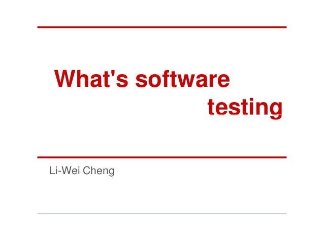 What's software testing