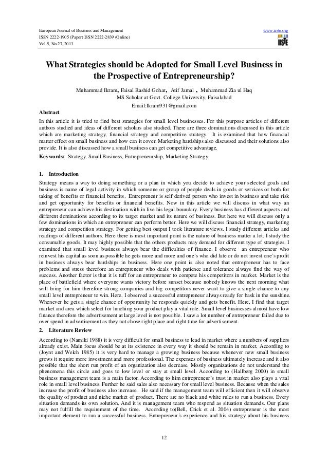 What strategies should be adopted for small level business in the prospective of entrepreneurship