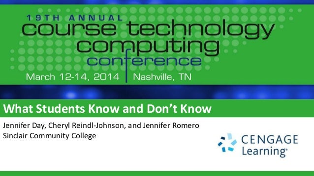 What Students Know and Don't Know Jennifer Day, Cheryl Reindl-Johnson, and Jennifer Romero Sinclair Community College