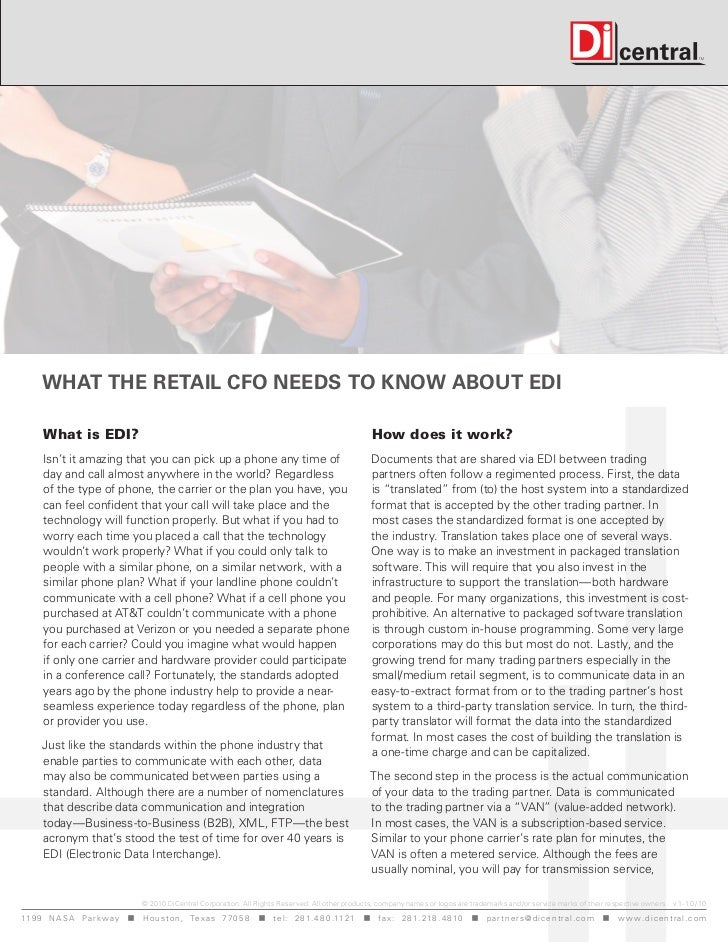 What the Retail CFO Needs tO KNOW abOut edi      What is EDI?                                                             ...