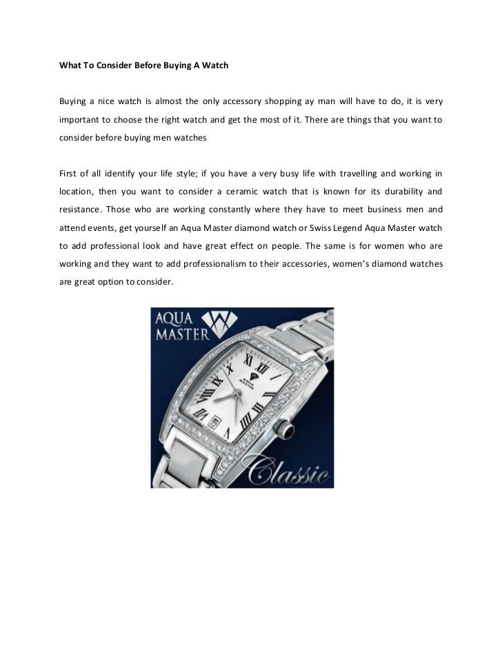 What to consider before buying a watch