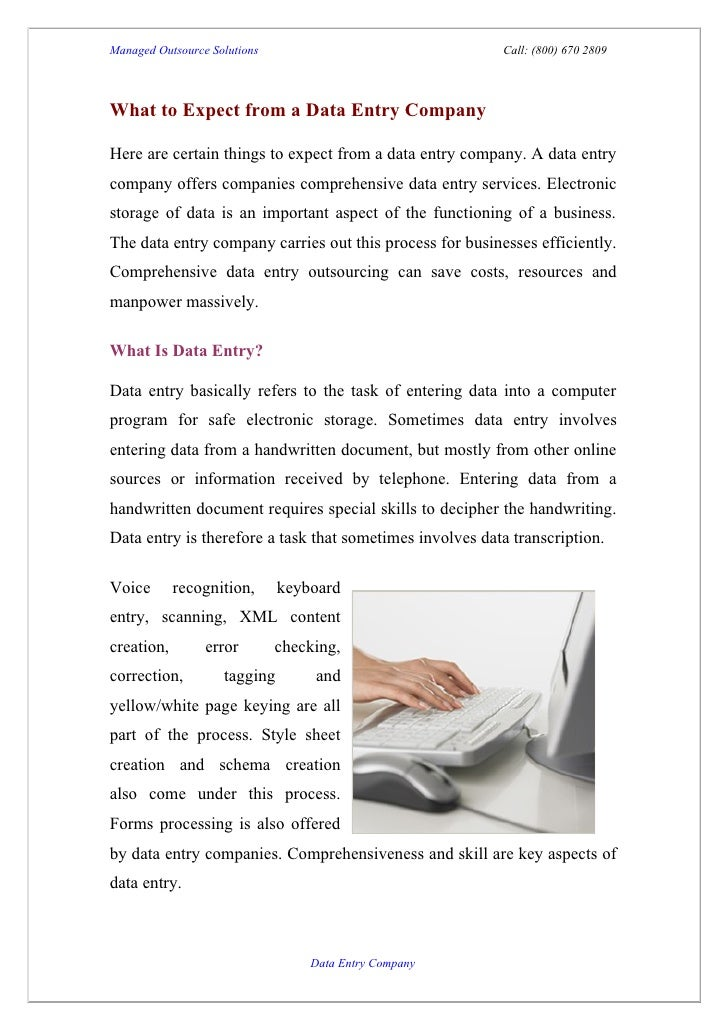 What to expect from a data entry company