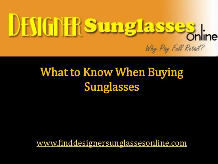 What to know when buying sunglasses
