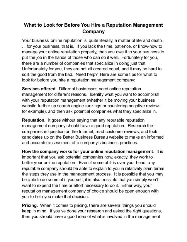 What to Look for Before You Hire a Reputation Management                         CompanyYour business' online reputation i...
