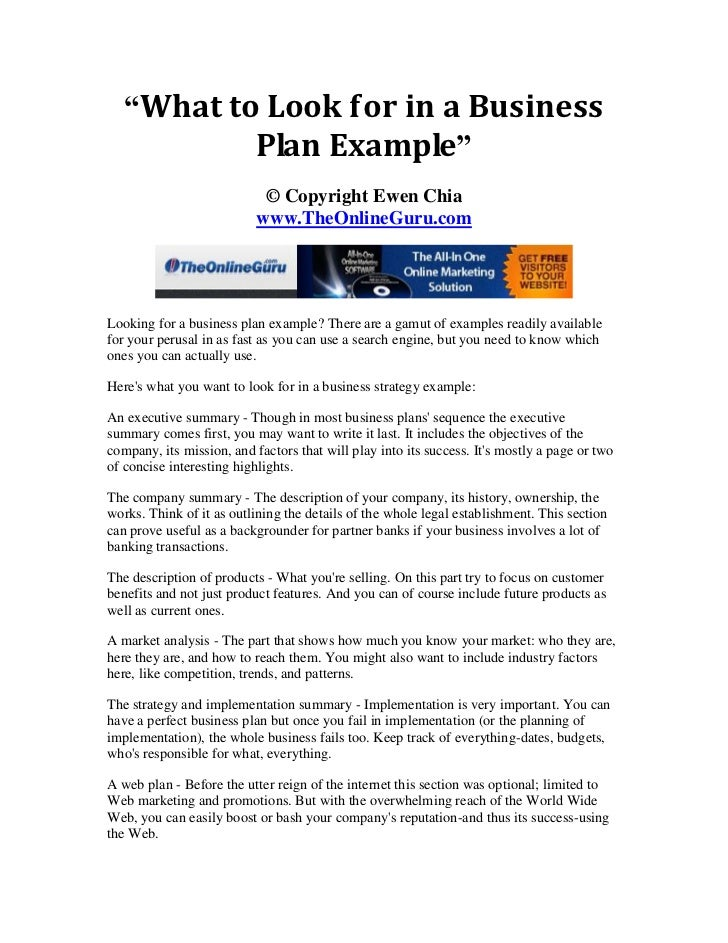 What to look for in a business plan