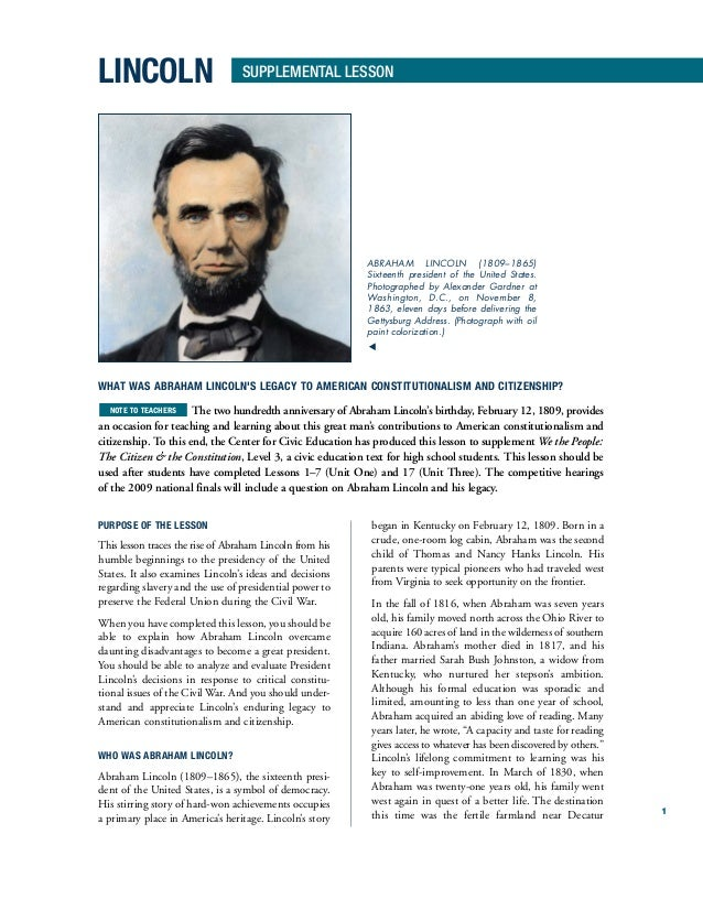 What was lincoln's legacy to american constitutionalism and citizenship?