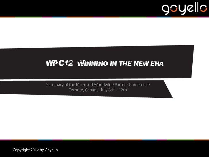 WPC12 – WINNING IN THE NEW ERA