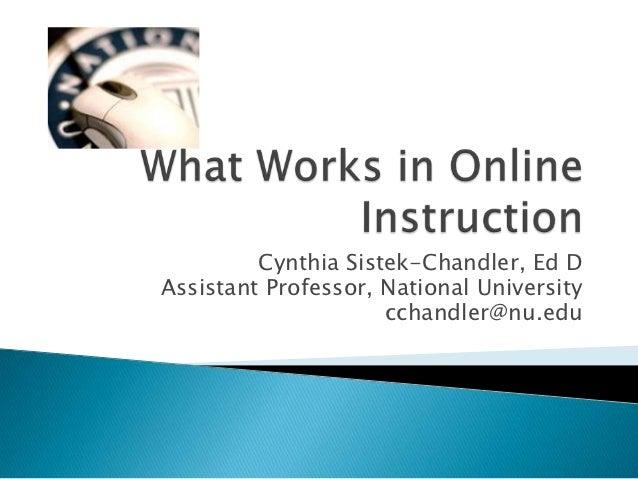 Cynthia Sistek-Chandler, Ed DAssistant Professor, National University                     cchandler@nu.edu