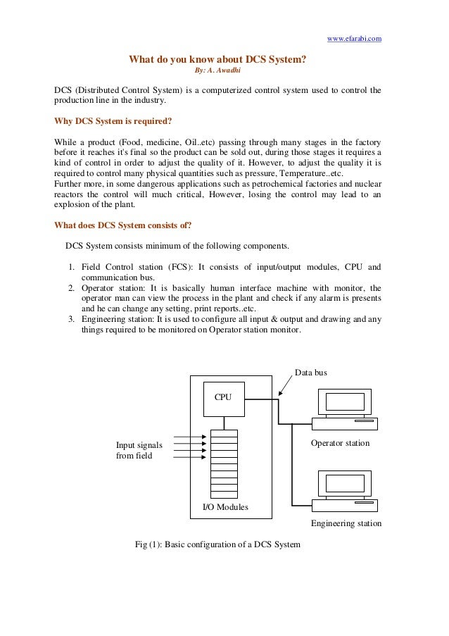www.efarabi.comWhat do you know about DCS System?By: A. AwadhiDCS (Distributed Control System) is a computerized control s...