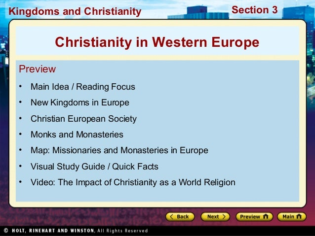 Kingdoms and Christianity  Section 3  Christianity in Western Europe Preview •  Main Idea / Reading Focus  •  New Kingdoms...