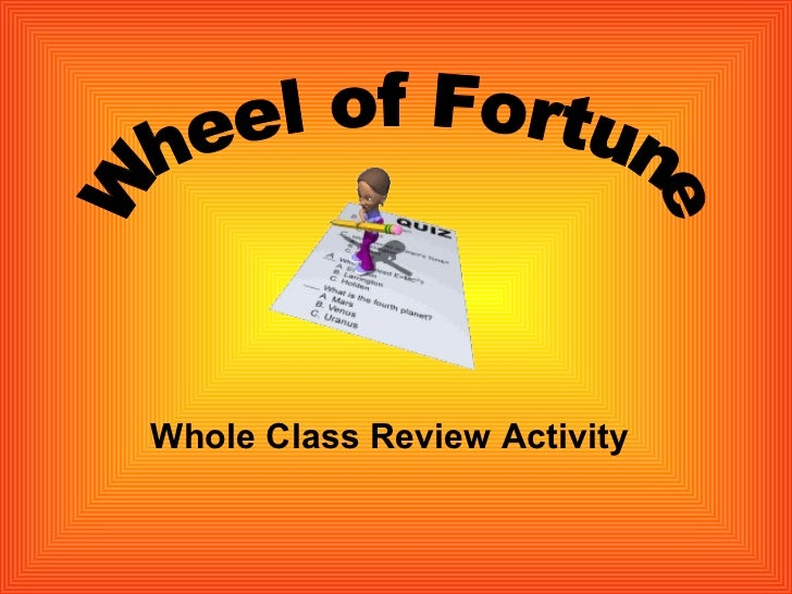 Whole Class Review Activity Wheel of Fortune