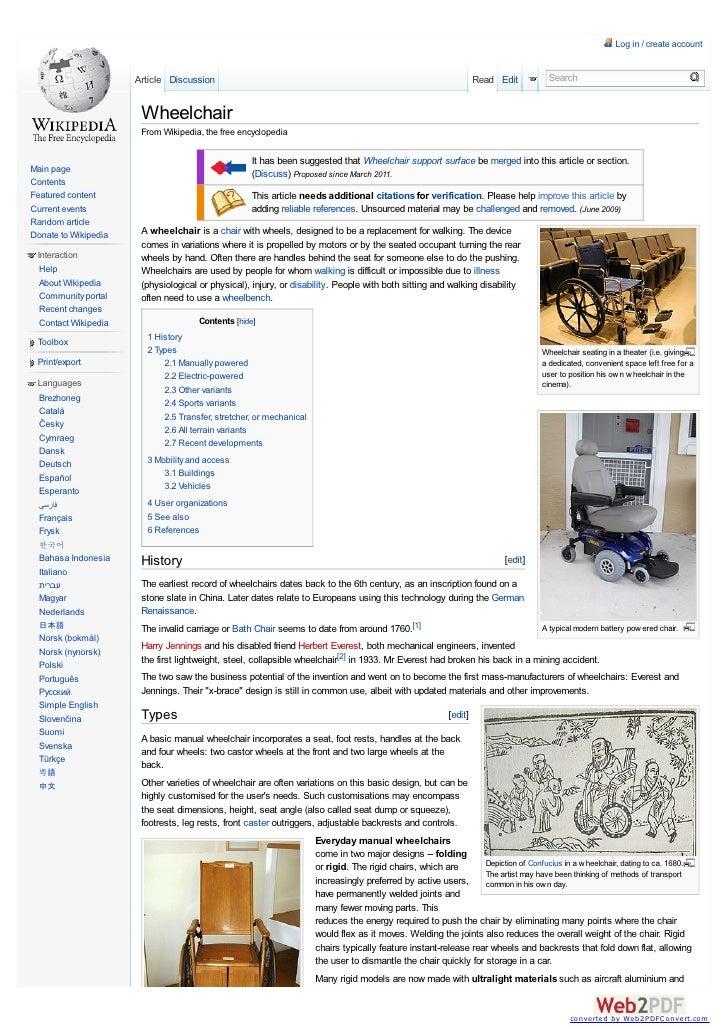 Wheelchair info by wikipedia
