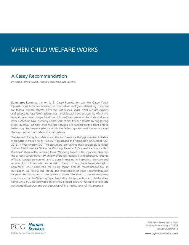 PCG Human Services When Child Welfare Works White Paper