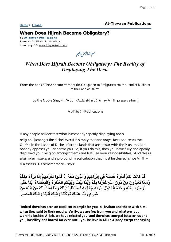 When Does Hijrah Become Obligatory   The Reality Of Displaying The Deen