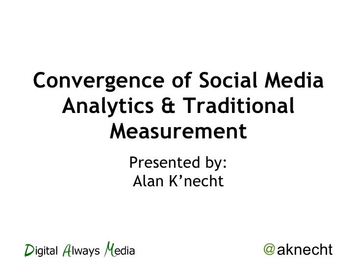 Convergence of Social Media Analytics & Traditional Measurement Presented by: Alan K'necht