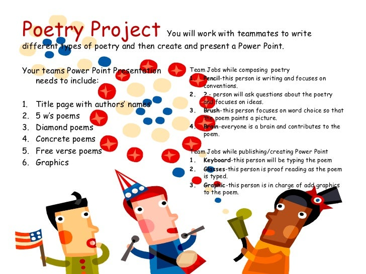 Poetry Project You will work with teammates to write different types of poetry and then create and present a Power Point.<...