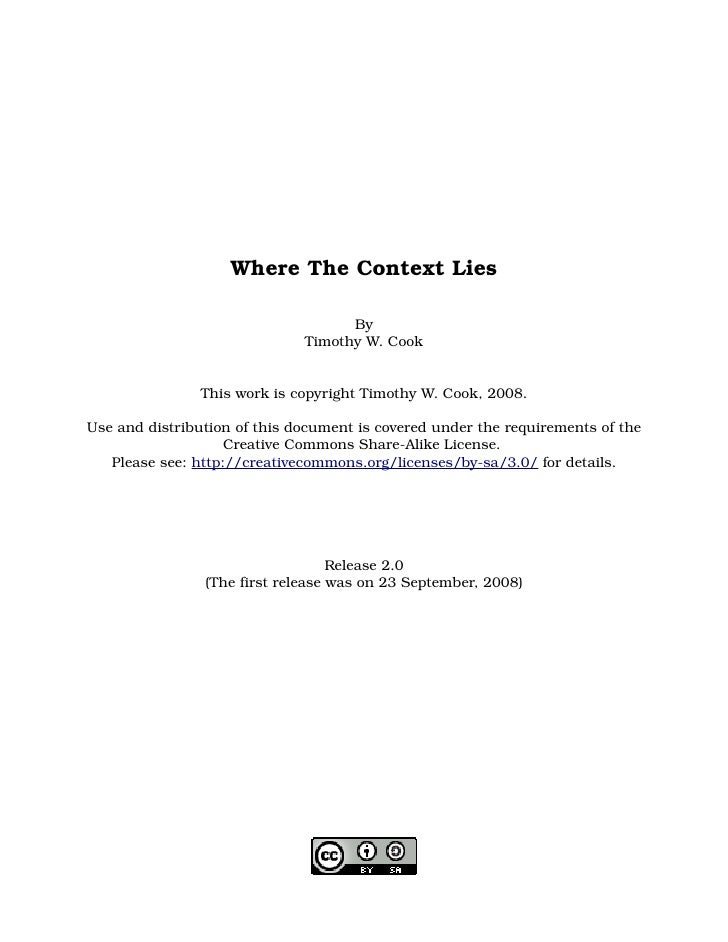 Where The Context Lies                                      By                               Timothy W. Cook              ...