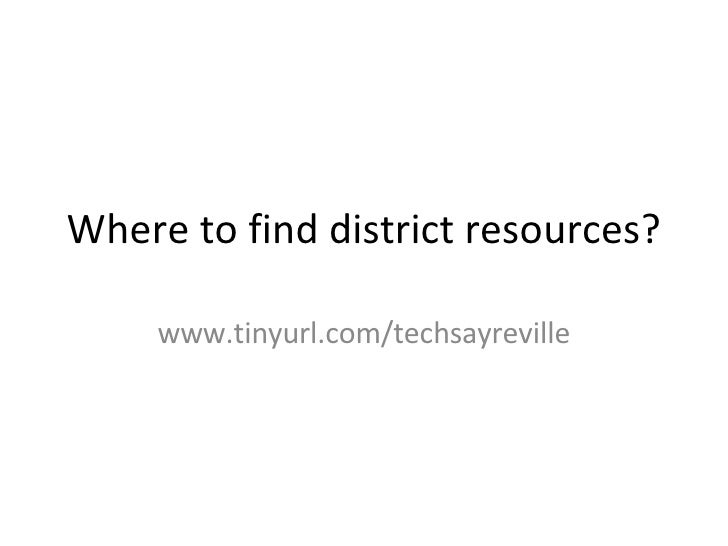 Where To Find District Resources