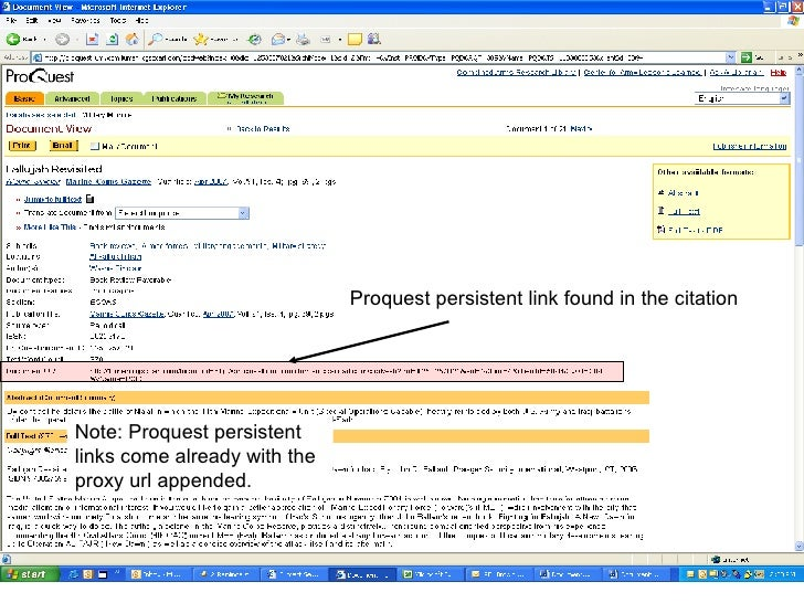 Proquest persistent link found in the citation Note: Proquest persistent links come already with the proxy url appended.