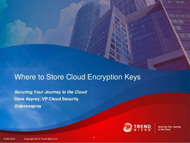 Where to Store Cloud Encryption Keys         Securing Your Journey to the Cloud         Dave Asprey, VP Cloud Security    ...