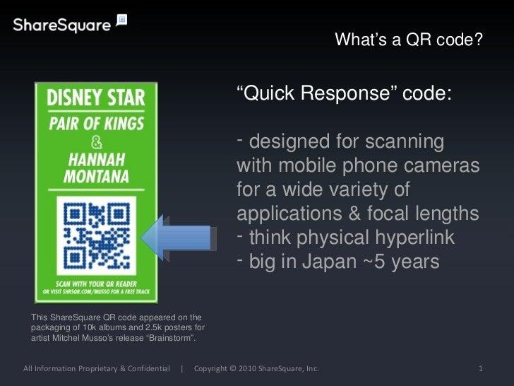 All Information Proprietary & Confidential  |  Copyright © 2010 ShareSquare, Inc. What's a QR code? This ShareSquare QR co...